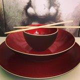 Bord diep 21 cm rood/bruin Lava Palmer_