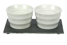Leisteen bord met 2 potjes