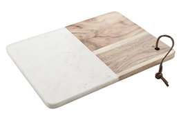 Serveerplank rechthoek 30 x 23 cm marmer hout
