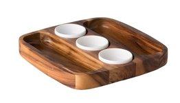Presentatie schaal met 3 dipschaaltjes Acacia hout 30x30 cm