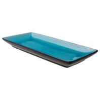 Bord 30x14 cm rechthoekig turquois/mat zwart Asia Palmer
