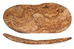 Fruitschaal van olijfhout plat 33cm