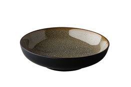 Bord diep 22 cm Q Authentic Speckle bruin/grijs
