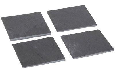 Glasonderzetters 10x10 cm leisteen set van 4