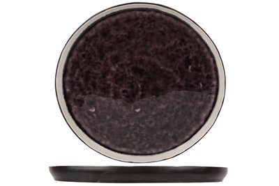 Laguna Azzuro dessertbord rond 21 cm zwart donkerpaars